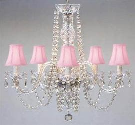New Authentic All Crystal Chandelier Lighting With Pink Shades - Thumbnail 0