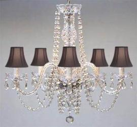Authentic All Crystal Chandelier With Black Shades - Thumbnail 0