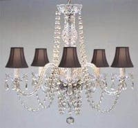 Authentic All Crystal Chandelier With Black Shades
