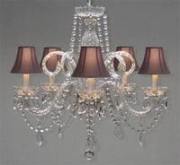 Crystal Chandelier Lighting With Black Shades H25 x W24
