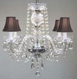All Crystal Chandelier With Black Shades - Thumbnail 0