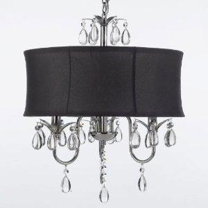 Modern Contemporary Black Drum Shade & Crystal Ceiling Chandelier Lighting Pendant With Swag Plug In Lighting Kit
