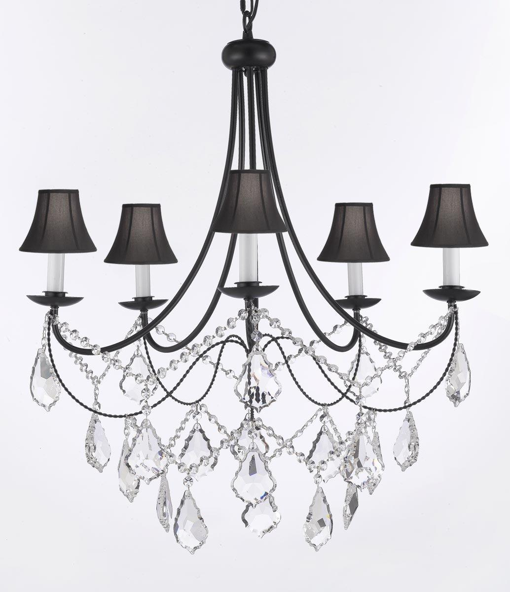 Plug In Crystal Wrought Iron Chandelier Lighting With Black Shades H22.5 x W26