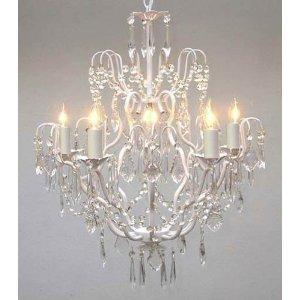 Swag Plug In Iron Crystal Chandelier Lighting H27 x W21