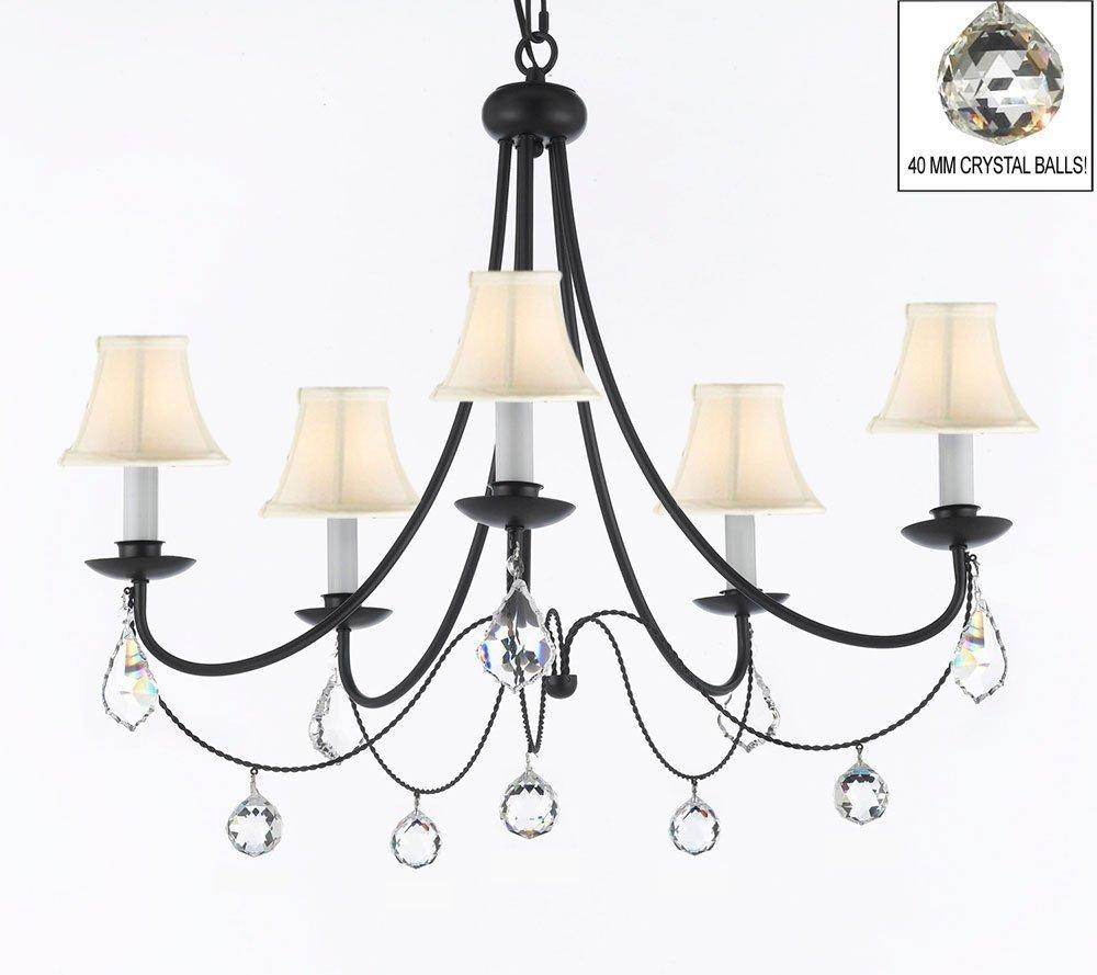 Plug In Wrought Iron Empress Crystal Chandelier With White Shades & Faceted Crystal Balls H22.5 x W26