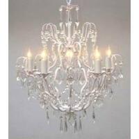 Swag Plug In Iron Crystal Chandelier Lighting  H27 x W21