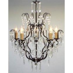 Swag Plug In Wrought Iron Crystal Chandelier Lighting H27 x W21 - Thumbnail 0