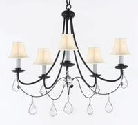 Plug In Empress Crystal Wrought Iron Chandelier Lighting With White Shades H22.5 x W26