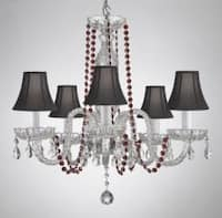 Crystal Chandelier Lighting With Red Crystal & Shades