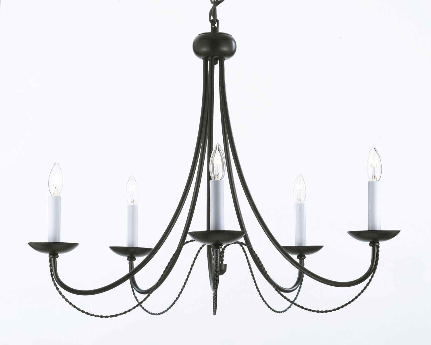 Wrought Iron Chandelier Lighting H22 x W26