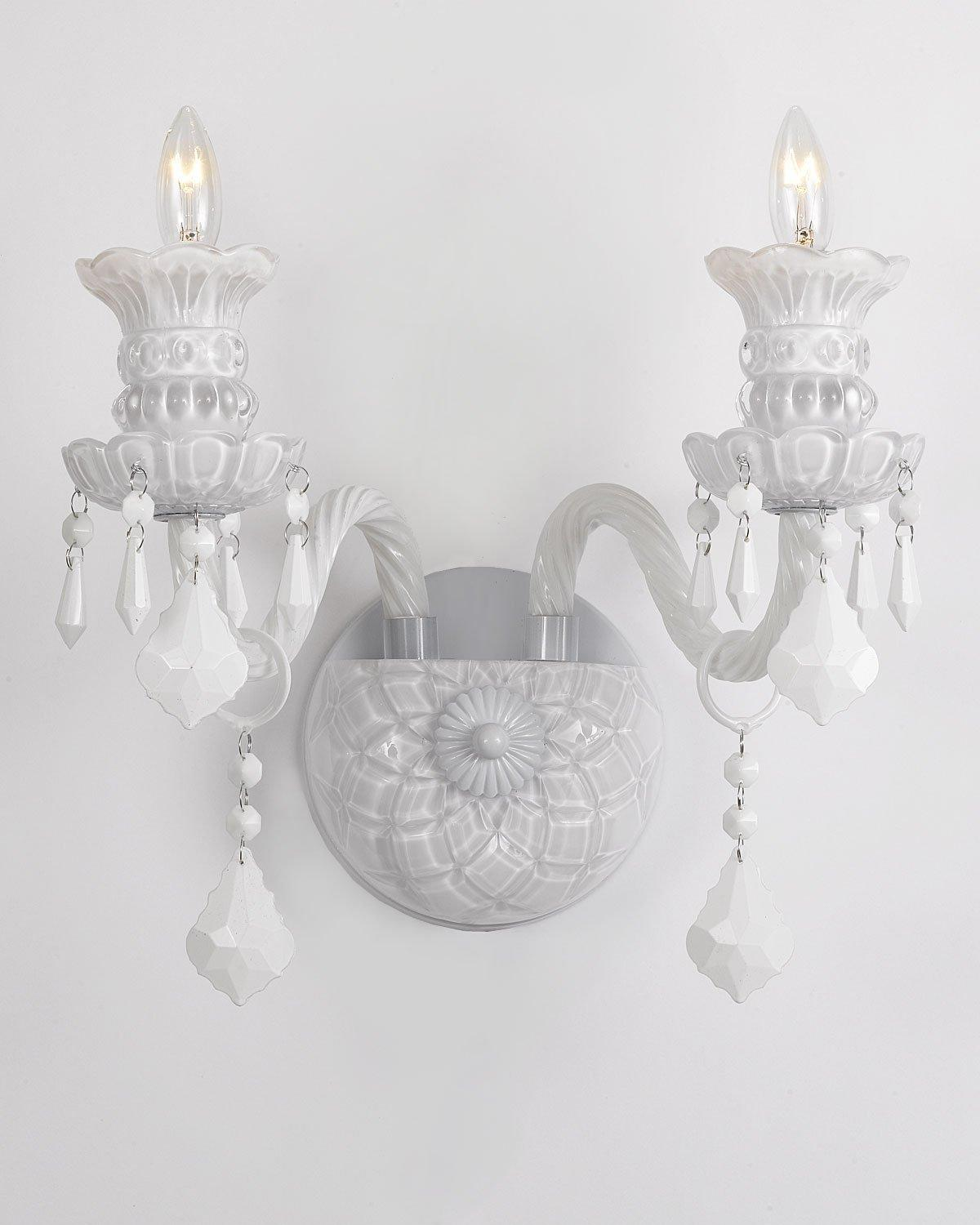 Snow White Venetian Style Crystal Wall Sconce Lighting