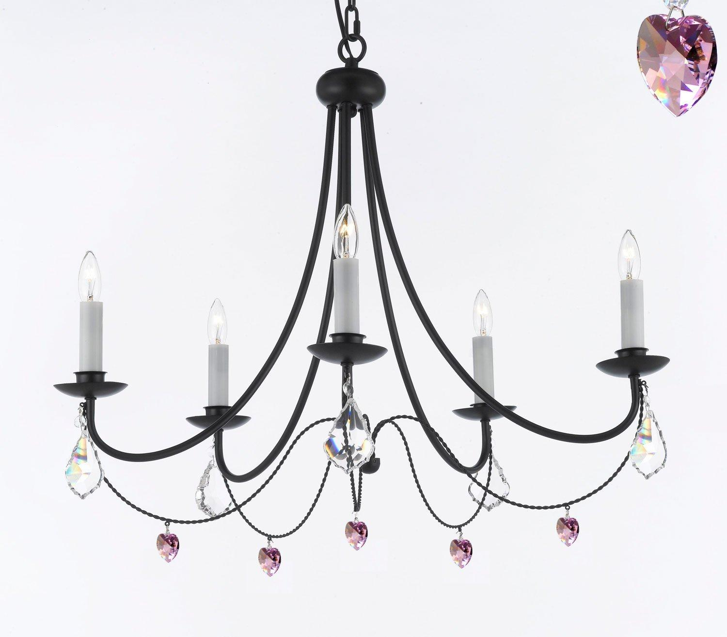 Empress Crystal Wrought Iron Chandelier Lighting With Pink Crystal*Hearts*Perfect for Kid's Rooms H22.5 x W26