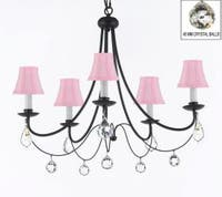 Empress Crystal Wrought Iron Plug In Chandelier Lighting H22.5 x W26 With Pink Shades & Faceted Crystal Balls