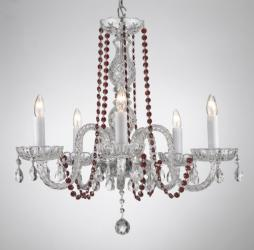 Crystal Chandelier Lighting With Red Crystal - Thumbnail 0