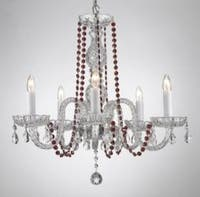 Crystal Chandelier Lighting With Red Crystal