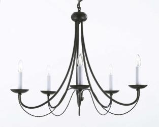 Wrought Iron Chandelier Lighting H22 x W26 With Swag Plug In Chandelier Lighting Chandelier - Thumbnail 0