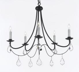 Empress Crystal Wrought Iron Chandelier Lighting H22.5 x W26 - Thumbnail 0