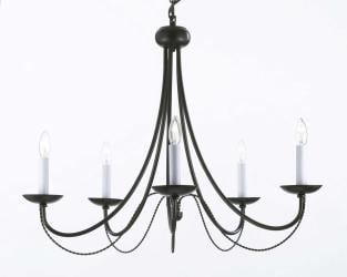 Wrought Iron Chandelier Lighting H22 x W26 - Thumbnail 0