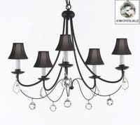 Empress Crystal Wrought Iron Plug In Chandelier Lighting H22.5 x W26 With Black Shades
