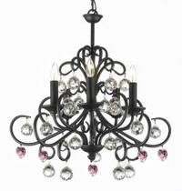 Bellora Crystal Wrought Iron Chandelier With Pink Crystal*Hearts* Lighting Empress Crystal