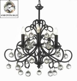Bellora Crystal Wrought Iron Chandelier Lighting With Faceted Crystal Balls - Thumbnail 0
