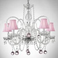 Crystal Chandelier Lighting With Pink Shades & Pink Crystal Balls