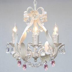 White Iron Floral Crystal Flower Chandelier Lighting With Pink Crystal *Hearts*