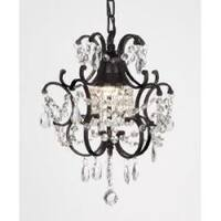 Chandelier Wrought Iron Crystal Chandelier H14 x W11 Swag Plug In Chandelier