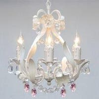 White Iron Crystal Flower Plug In Chandelier Lighting With Pink Crystal *Hearts*