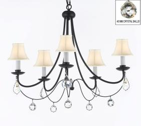 Plug In Wrought Iron Empress Crystal Chandelier With White Shades & Faceted Crystal Balls H22.5 x W26 - Thumbnail 0