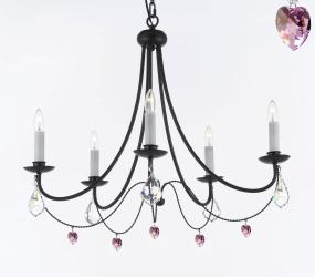 Empress Crystal Wrought Iron Chandelier Lighting With Pink Crystal*Hearts*Perfect for Kid's Rooms H22.5 x W26 - Thumbnail 0