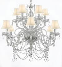 Venetian Style All Crystal Chandelier Lighting With White Shades