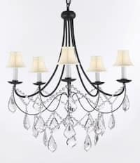 Plug In Crystal Wrought Iron Chandelier Lighting With White Shades H22.5 x W26