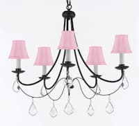 Plug In Empress Crystal Wrought Iron Chandelier With Pink Shades H22.5 x W26