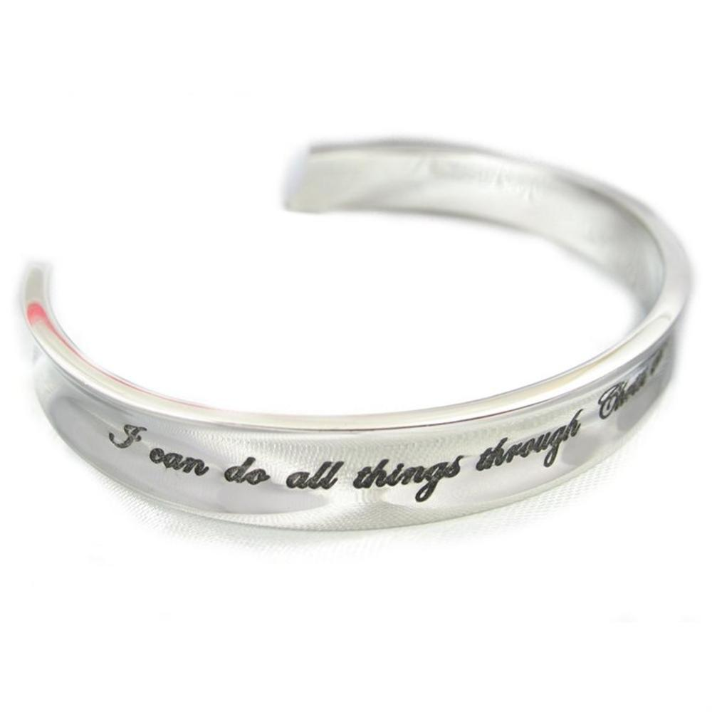 """I Can Do All Things through Christ Who Strengthens Me Rhodium Plated Cuff Bracelet 7"""""""