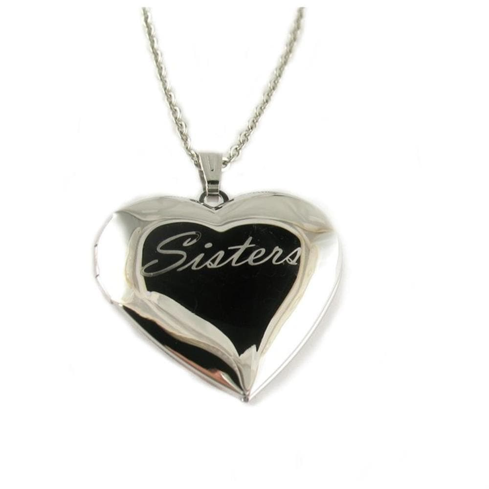 "Sisters Heart Locket Pendant Neklace with 18"" Chain"
