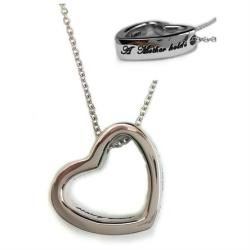 """A Mother Holds Her Childs Hand Heart Pendant Necklace with 18"""" Chain - Thumbnail 0"""