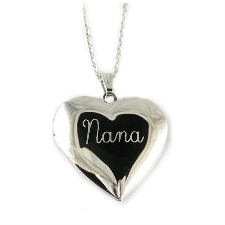 "Nana Heart Locket Pendant Necklace with 18"" Chain"