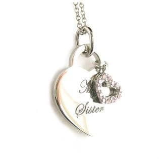 """My Sister My Friend Heart Tag Pendant Rhodium Plated Necklace with 18"""" Chain"""