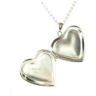 "Heart Locket Pendant Rhodium Plated Necklace with 18"" Chain"