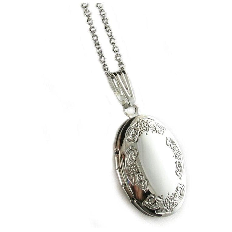 "Polished Engraved Oval Locket Pendant Rhodium Plated Necklace with 18"" Chain"