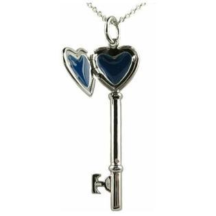 "Heart Shaped Locket Key Pendant Rhodium Plated Necklace with 18"" Chain"