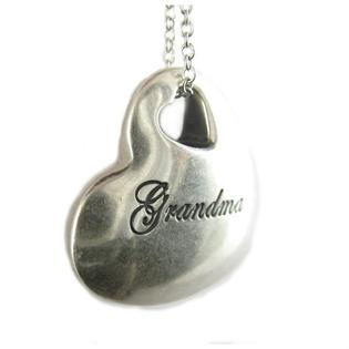 "Grandma You Held my tiny hands for just a little while Heart Pendant Rhodium Plated Necklace with 18"" Chain"