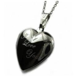 "I Love You Heart Locket Pendant Rhodium Plated Necklace with 18"" Chain - Thumbnail 0"