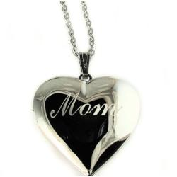 "Mom I Love You Heart Locket Pendant Rhodium Plated Necklace with 18"" Chain - Thumbnail 0"