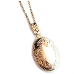 "Stainless Steel Rose Engraved Oval Locket Pendant with 18"" Chain - Thumbnail 0"