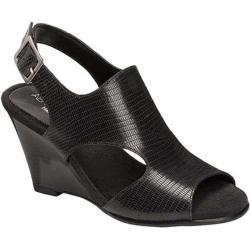 Women's Aerosoles Honey Blossom Wedge Sandal Black Snake Embossed Leather