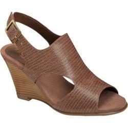 Women's Aerosoles Honey Blossom Wedge Sandal Taupe Snake Embossed Leather