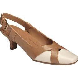Women's A2 by Aerosoles Dimprint Slingback Pump Tan Combo Faux Leather