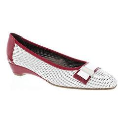 Women's Rose Petals by Walking Cradles Brooklyn Pump White Perfed Kid/Red Patent